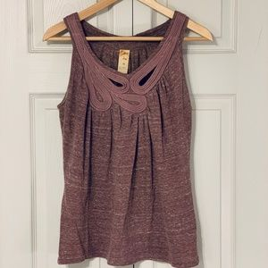 Anthropologie knit swoop rope cutout top purple